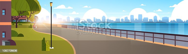 modern city empty quay urban cityscape skyscrapers background view of road river and downtown early morning sunrise horizontal banner flat vector illustration