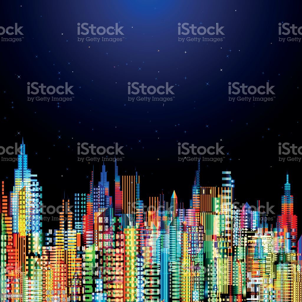 Modern city life abstract conceptual background design. vector art illustration