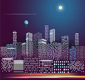 Modern city life in the night. Vector illustration