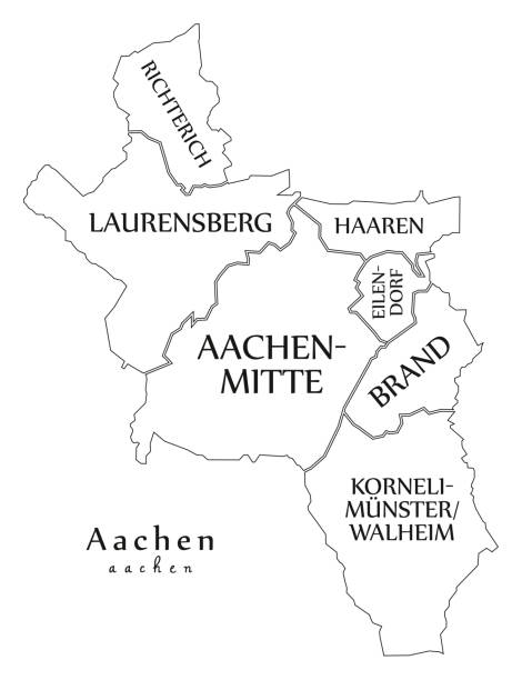 Modern City Map - Aachen city of Germany with boroughs and titles DE outline map Modern City Map - Aachen city of Germany with boroughs and titles DE outline map lachen stock illustrations