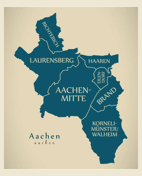 Modern City Map - Aachen city of Germany with boroughs and titles DE Modern City Map - Aachen city of Germany with boroughs and titles DE lachen stock illustrations
