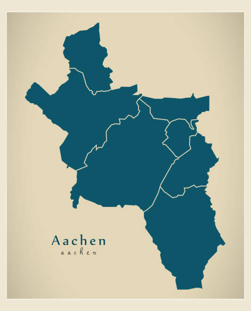 Modern City Map - Aachen city of Germany with boroughs DE Modern City Map - Aachen city of Germany with boroughs DE lachen stock illustrations
