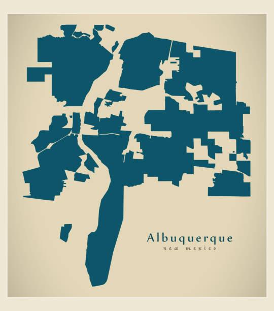 Modern City Map - Albuquerque New Mexico city of the USA vector art illustration
