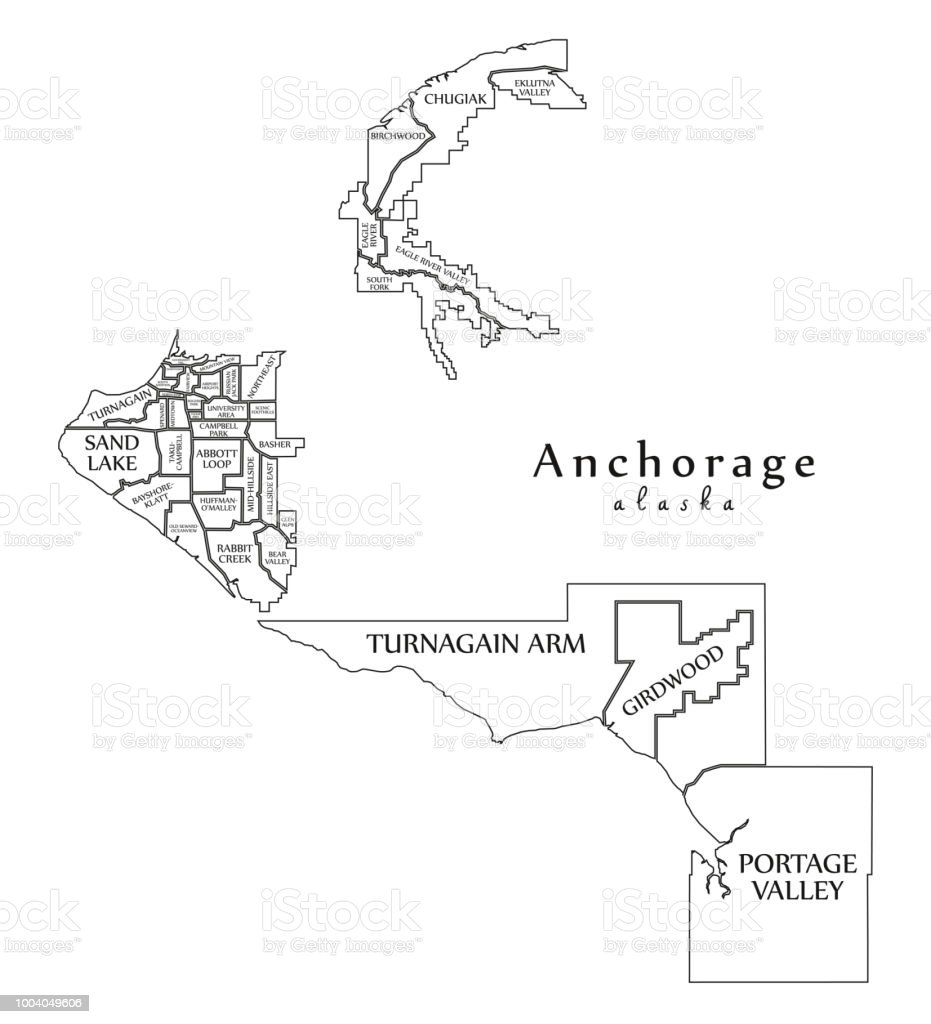 Modern City Map Anchorage Alaska City Of The Usa With Neighborhoods ...
