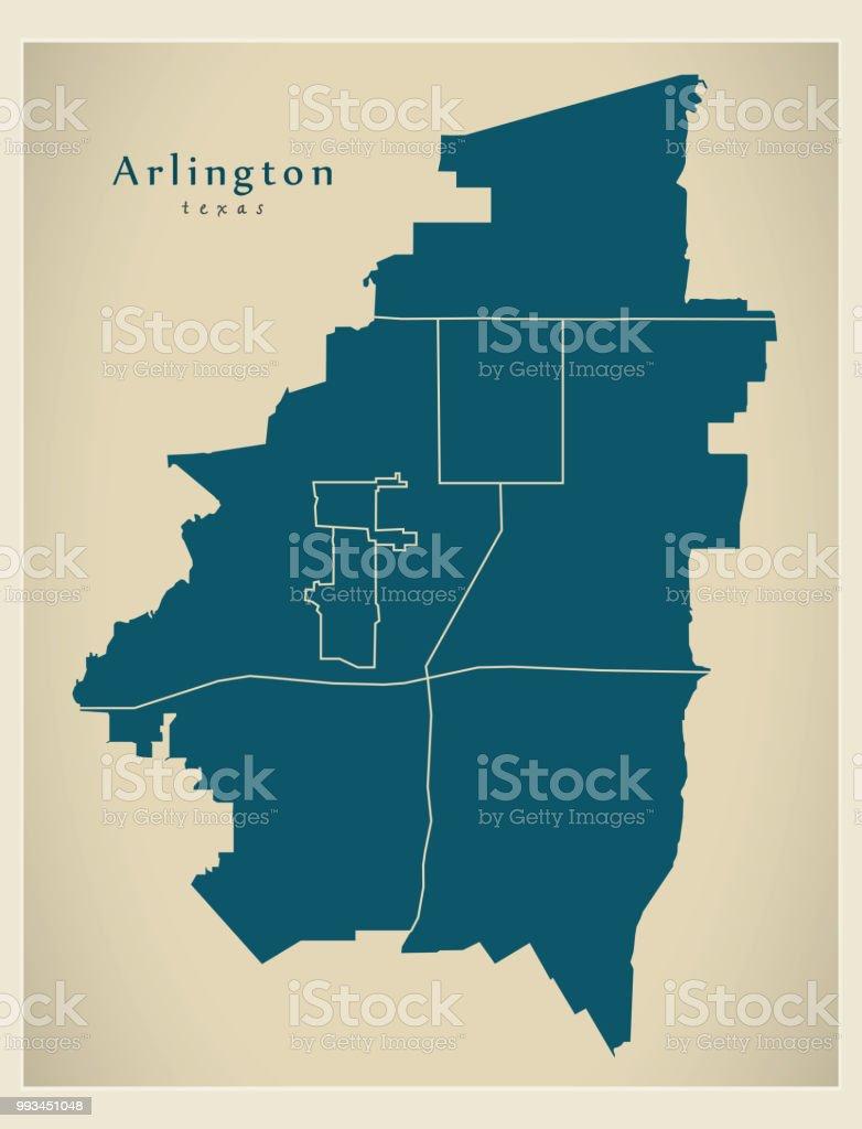 Moderne City Map Arlington Texas Stadt Der Usa Mit Nachbarschaften on