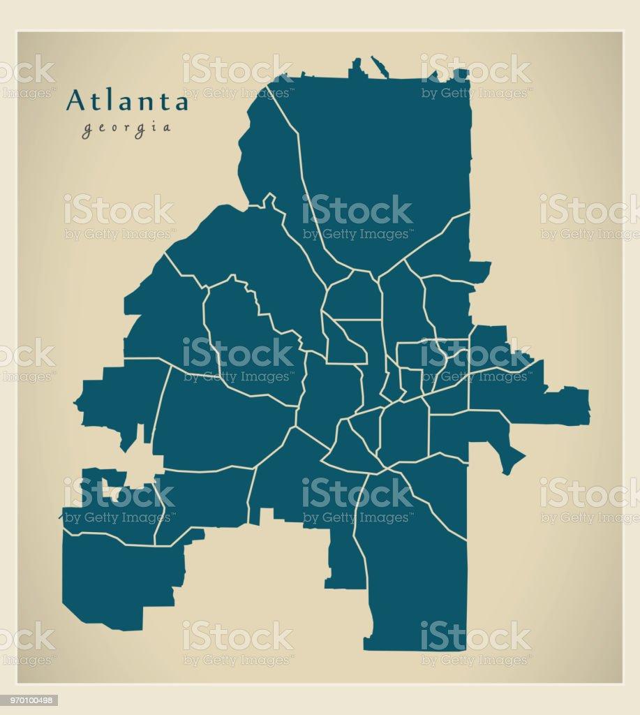 Moderne City Map Atlanta Georgia Stadt Der Usa Mit Nachbarschaften ...