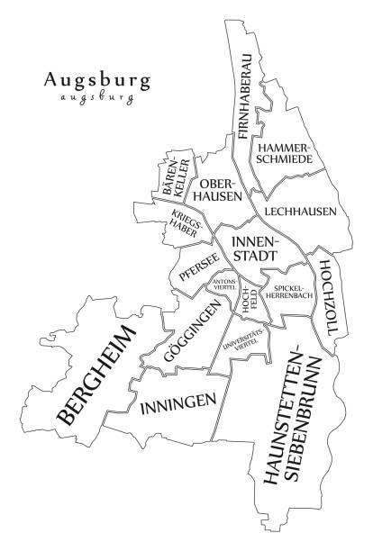 Moderne Stadtplan - Augsburg Stadt Deutschlands mit Bezirken und Titel DE Umriß – Vektorgrafik