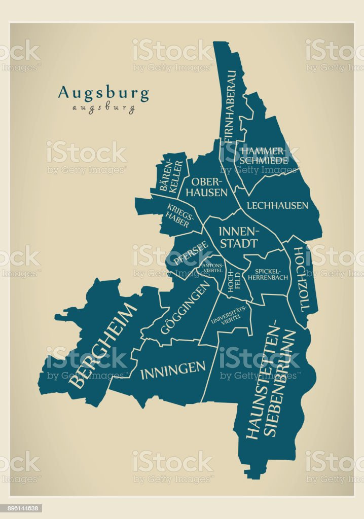 Moderne Stadtplan - Augsburg Stadt Deutschlands mit Bezirken und Titel DE – Vektorgrafik