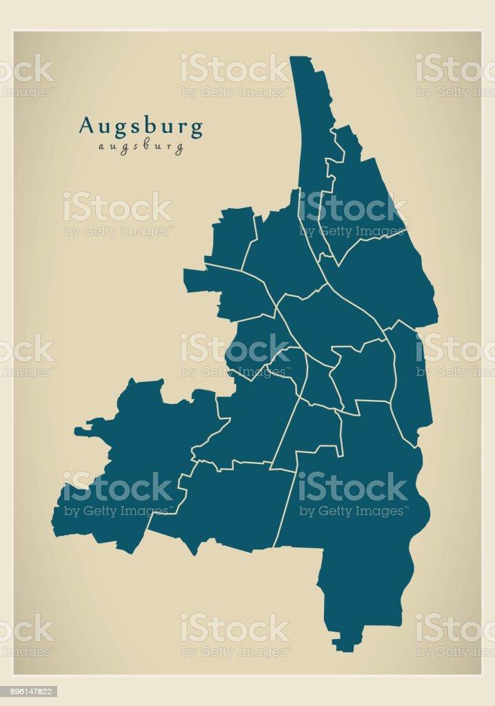 Moderne Stadtplan - Augsburg Stadt Deutschlands mit Bezirken DE – Vektorgrafik