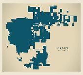 Modern City Map - Aurora Colorado city of the USA