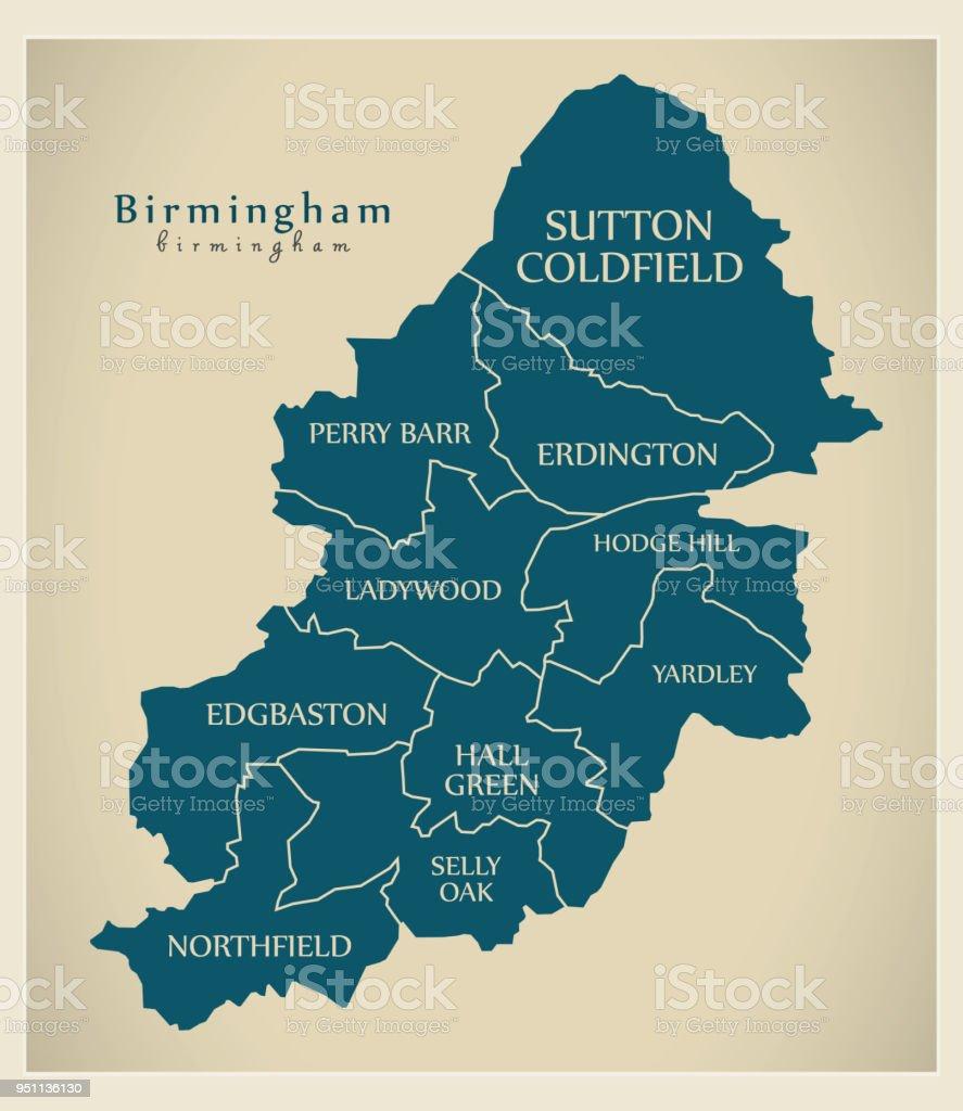 Ciudades De Inglaterra Mapa.Ilustracion De Mapa De La Ciudad Moderna Birmingham City De