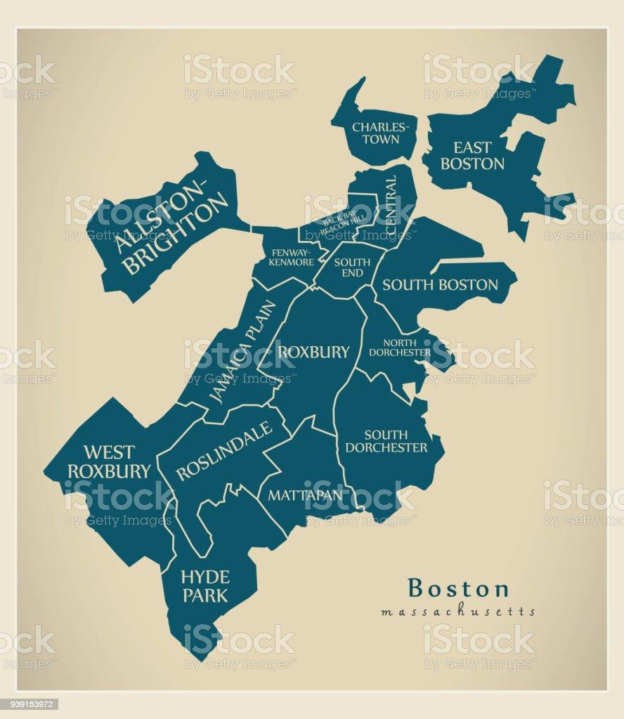Moderne City Map Boston Massachusetts Stadt Der Usa Mit Bezirken Und ...