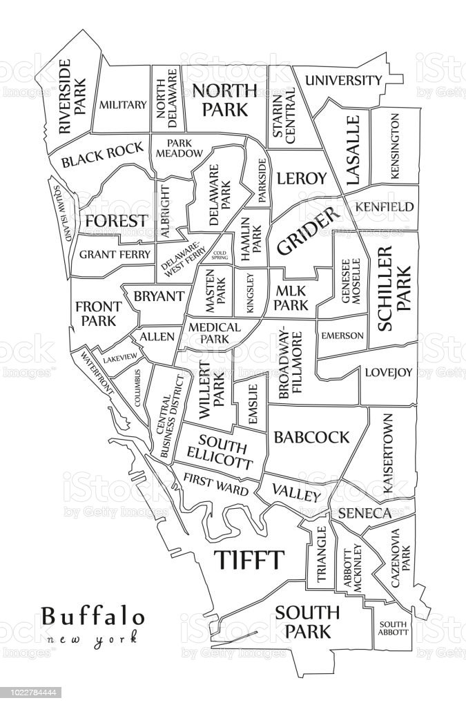 Moderne City Map Buffalo In New York City Der Usa Mit ... on