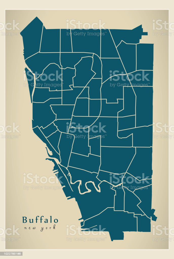 City Map Of New York State.Modern City Map Buffalo New York City Of The Usa With Neighborhoods