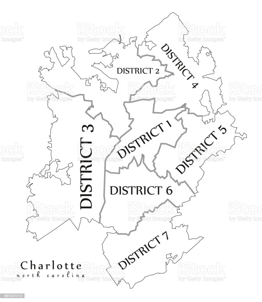 Moderne City Map Charlotte North Carolina Stadt Der Usa Mit Bezirken on