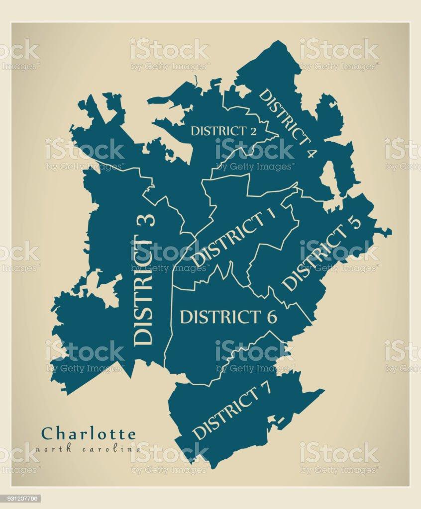 Modern City Map Charlotte North Carolina City Of The Usa With - Us-map-charlotte-nc