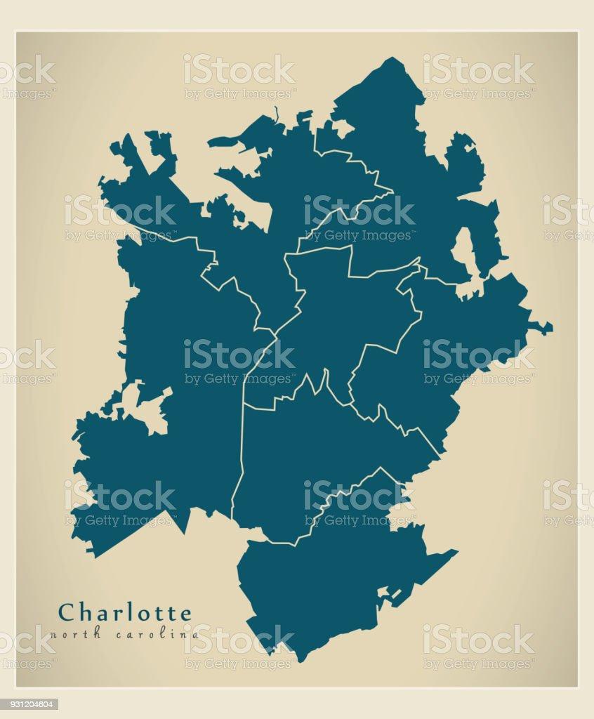 Moderne City Map Charlotte North Carolina Stadt Der Usa Mit Bezirken ...