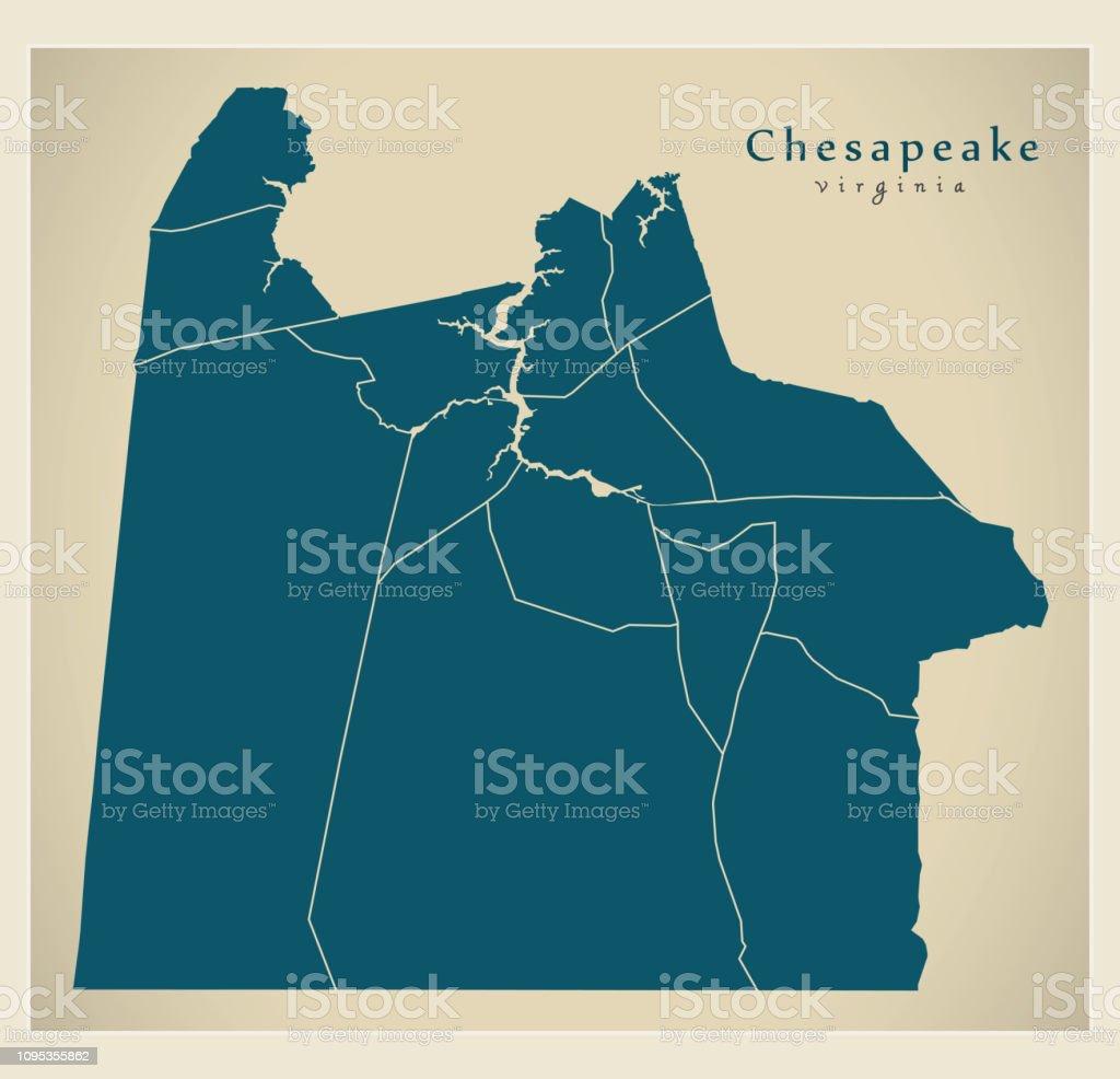 Moderne City Map Chesapeake Virginia Stadt Der Usa Mit ... on