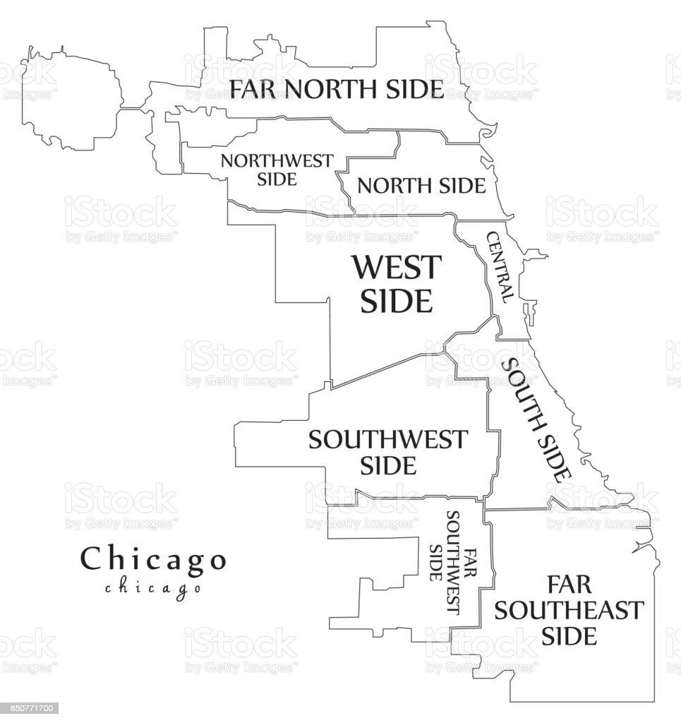 Karta Usa Chicago.Modern City Karta Chicago Staden Av Usa Med Boroughs Och Titlar