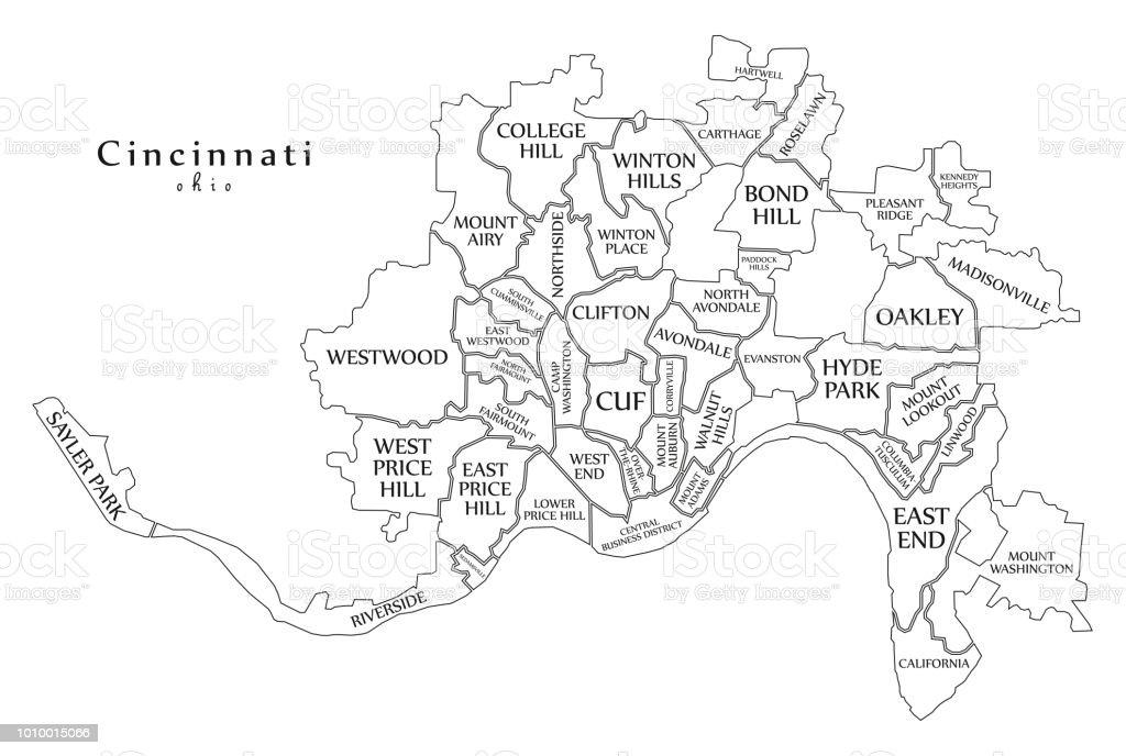 Ilustracao De Mapa Da Cidade De Moderno Cidade De Cincinnati Ohio