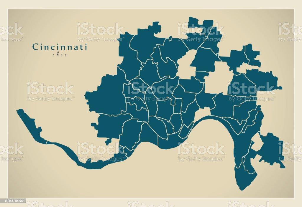 Map Of Ohio Usa.Modern City Map Cincinnati Ohio City Of The Usa With Neighborhoods