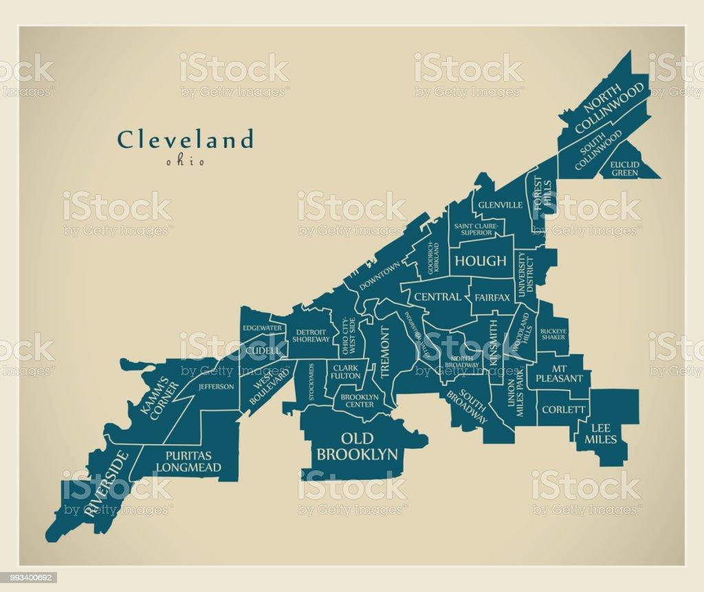 Moderne City Map Cleveland Ohio Stadt Der Usa Mit ...
