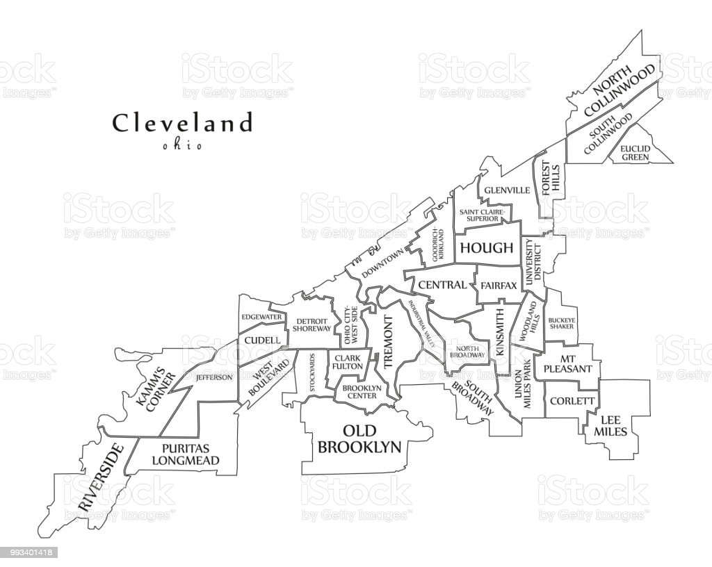 Outline Map Of Ohio.Modern City Map Cleveland Ohio City Of The Usa With Neighborhoods