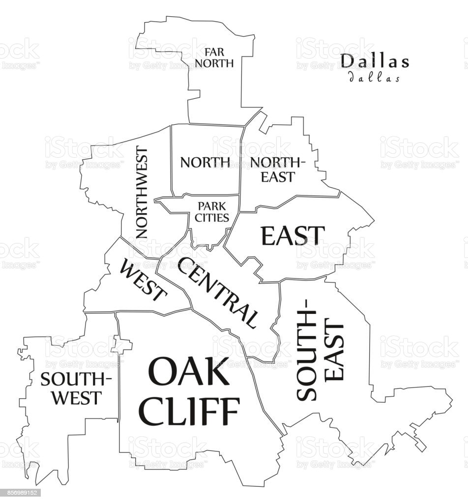 Map Of Central Texas Cities.Modern City Map Dallas Texas City Of The Usa With Boroughs And