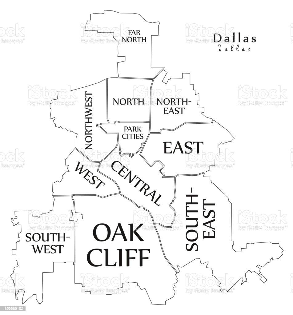 Moderne City Map Dallas Texas Stadt Der Usa Mit Bezirken Und ...