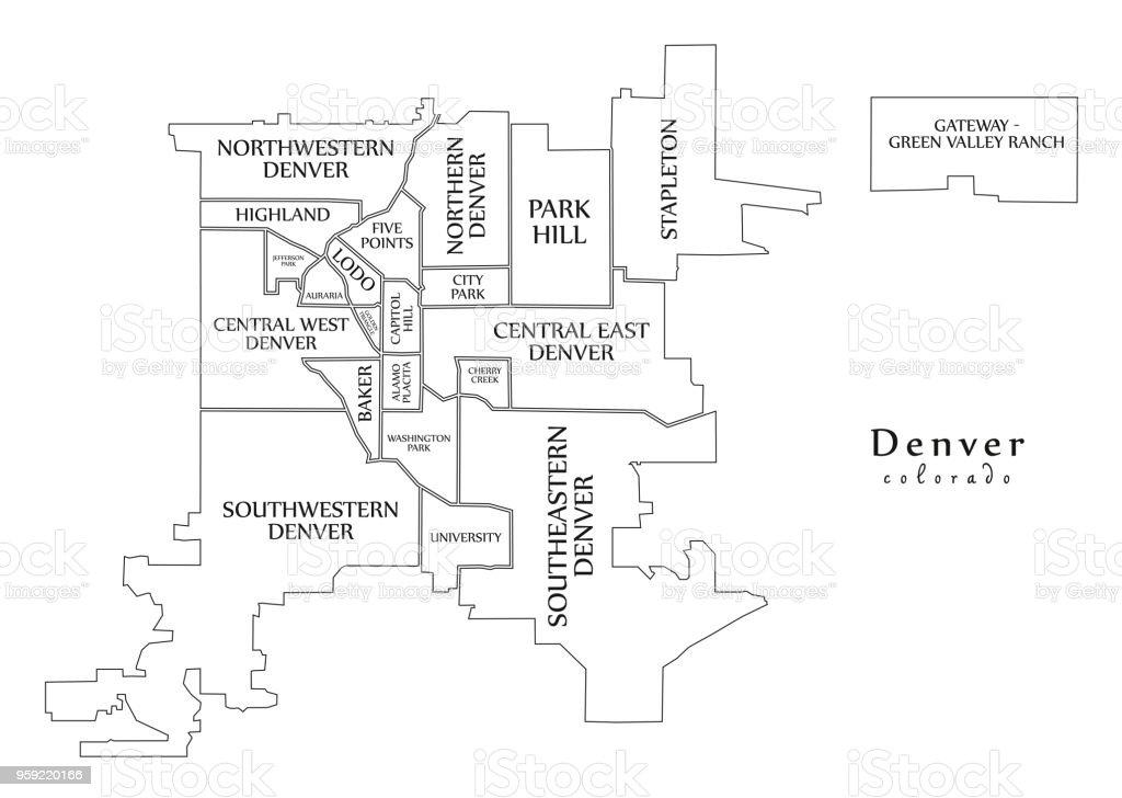 Moderne City Map Denver Colorado Stadt Der Usa Mit Nachbarschaften ...