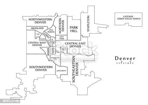 Moderne City Map Denver Colorado Stadt Der Usa Mit Nachbarschaften on