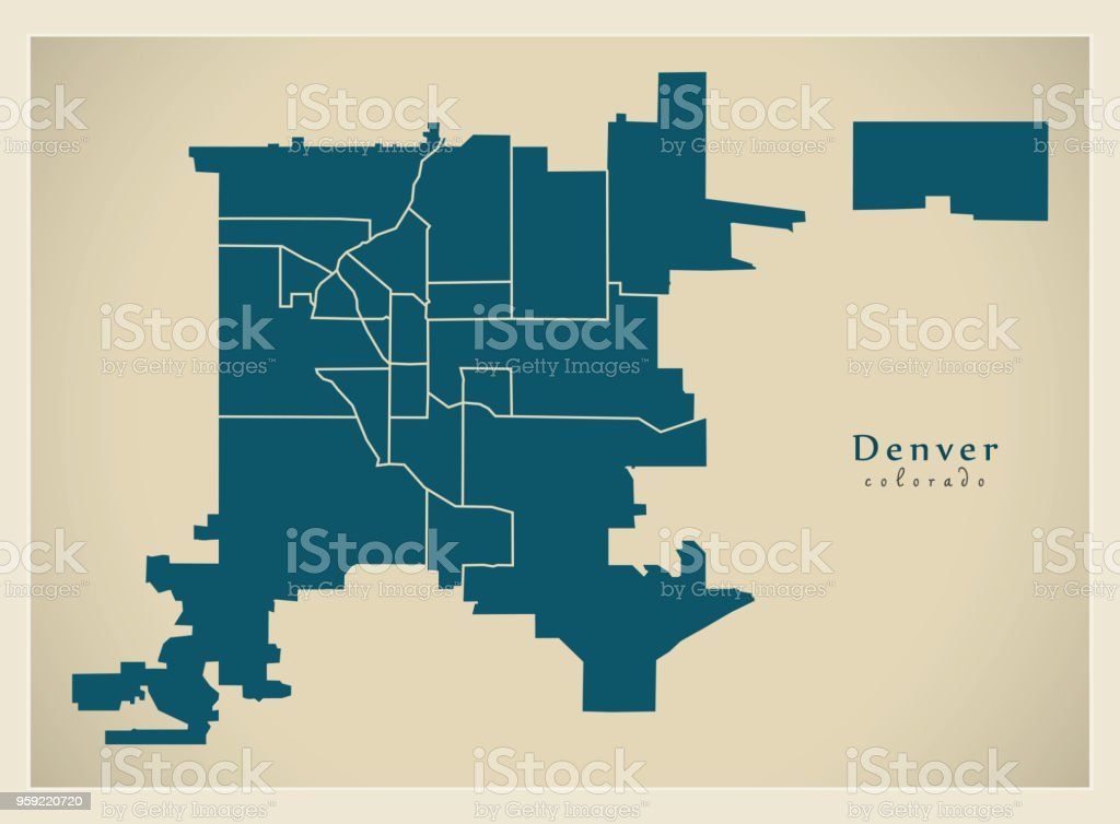 Moderne City Map Denver Colorado Stadt Der Usa Mit Nachbarschaften on