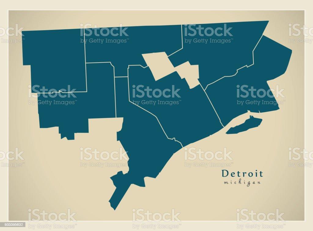 Moderne City Map Detroit Michigan Stadt Der Usa Mit Bezirken Stock on