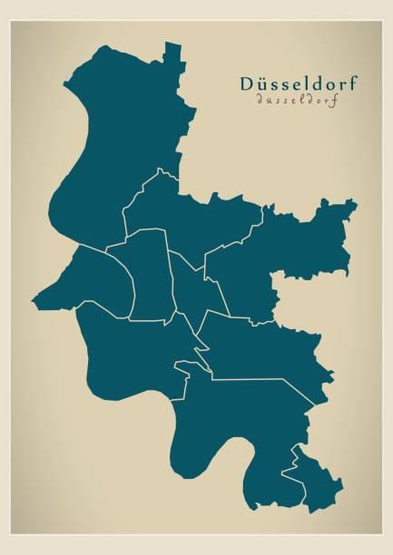 moderne stadtplan - stadt düsseldorf mit bezirken de - düsseldorf stock-grafiken, -clipart, -cartoons und -symbole