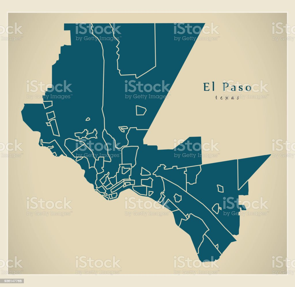 Modern City Map El Paso Texas City Of The Usa With Neighborhoods