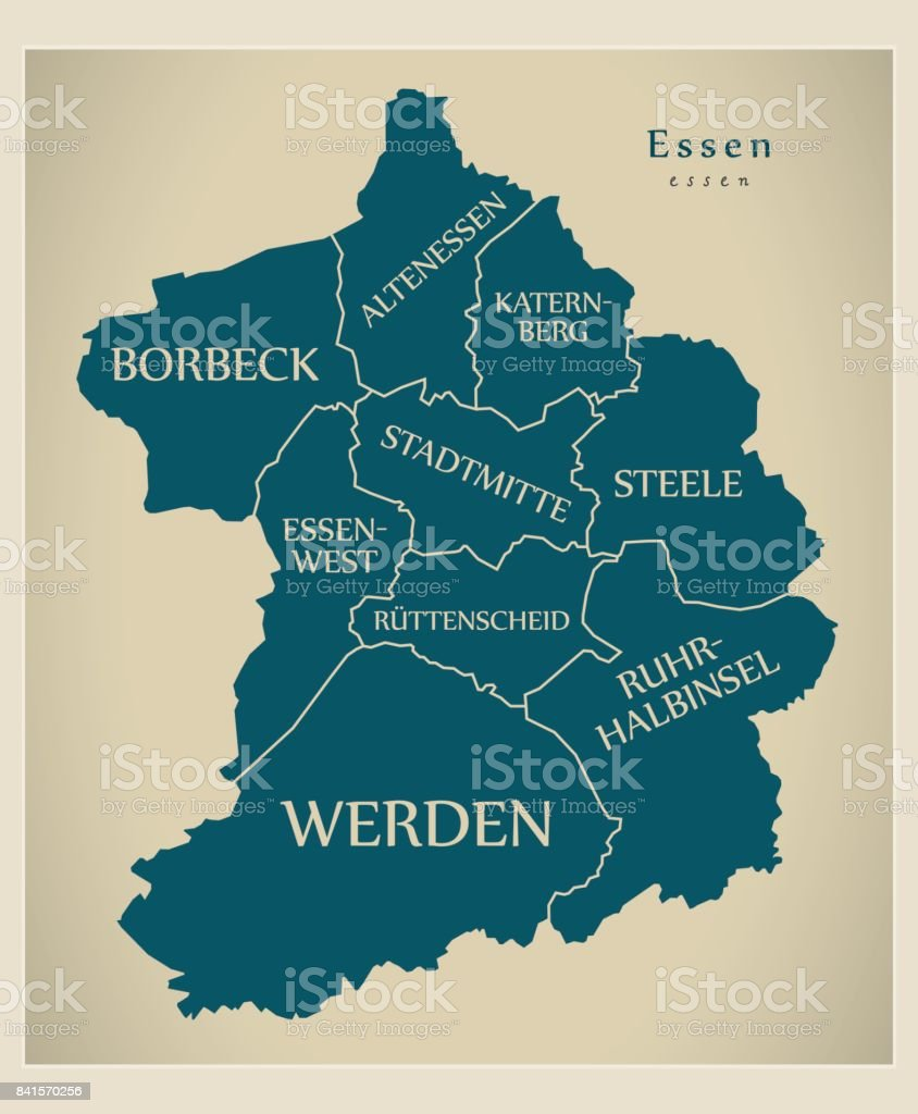 Modern City Map Essen City Of Germany With Boroughs And Titles De - Germany map essen