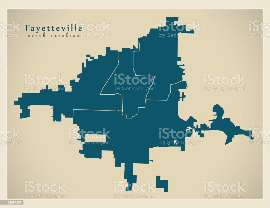 Modern City Map Fayetteville North Carolina Stadt Der Usa Mit ...