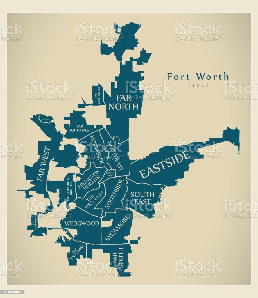 Moderne City Map Fort Worth Texas Stadt Der Usa Nachbarschaften Und ...