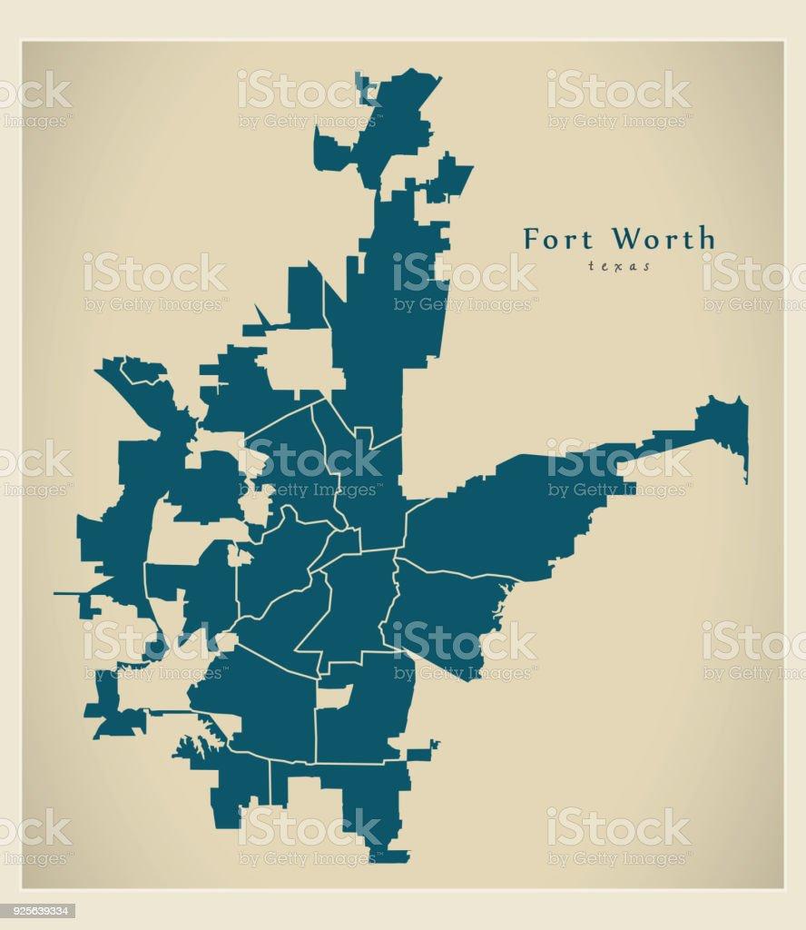 Map Of Texas City.Modern City Map Fort Worth Texas City Of The Usa Neighborhoods Stock