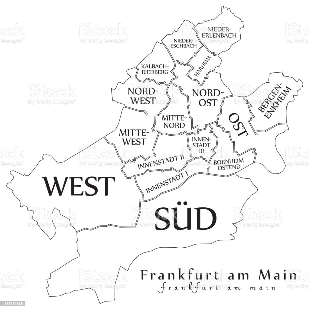 Modern City Map Frankfurt Am Main City Of Germany With Boroughs And ...