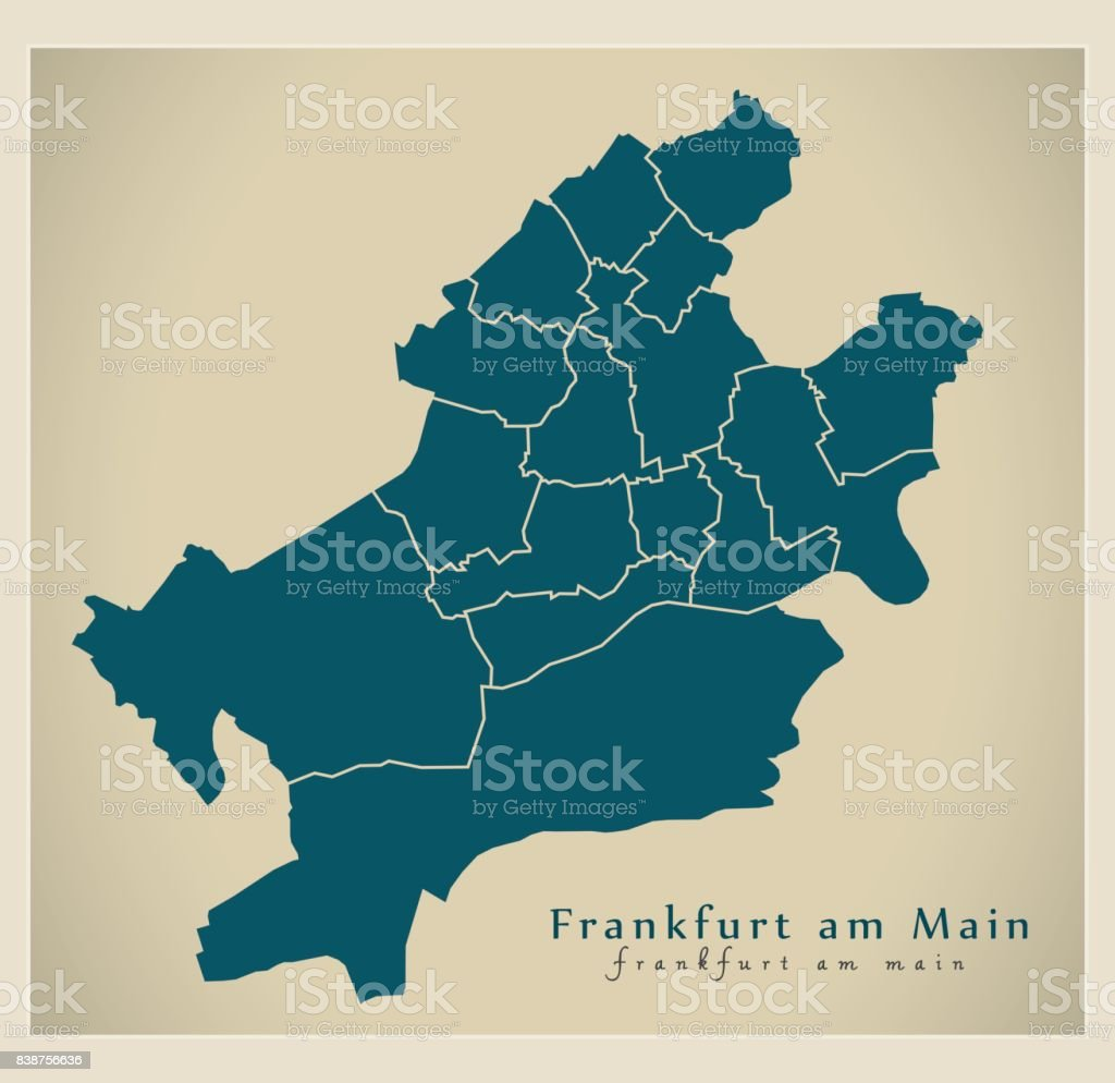 Modern City Map Frankfurt Am Main City Of Germany With Boroughs De