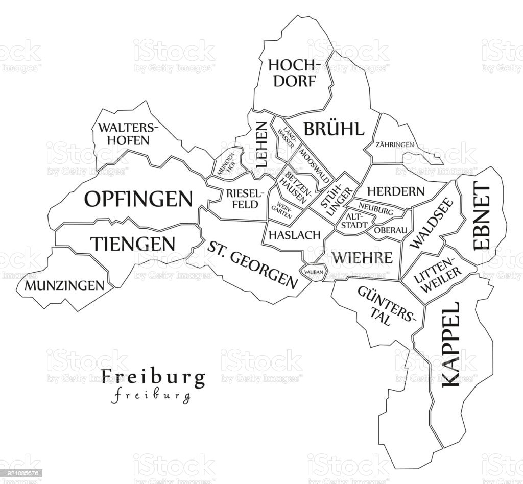 Modern City Map Freiburg City Of Germany With Boroughs And Titles De