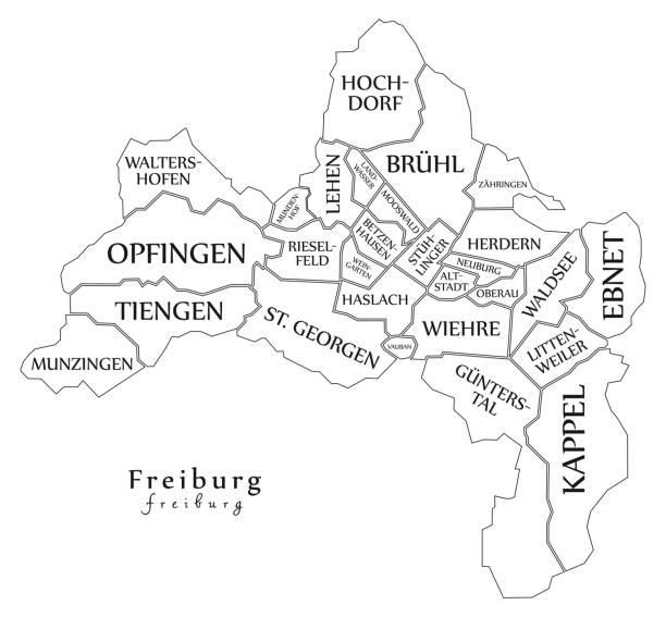 moderne city map - freiburg stadt deutschlands mit bezirken und titel de umriß - schwarzwald stock-grafiken, -clipart, -cartoons und -symbole