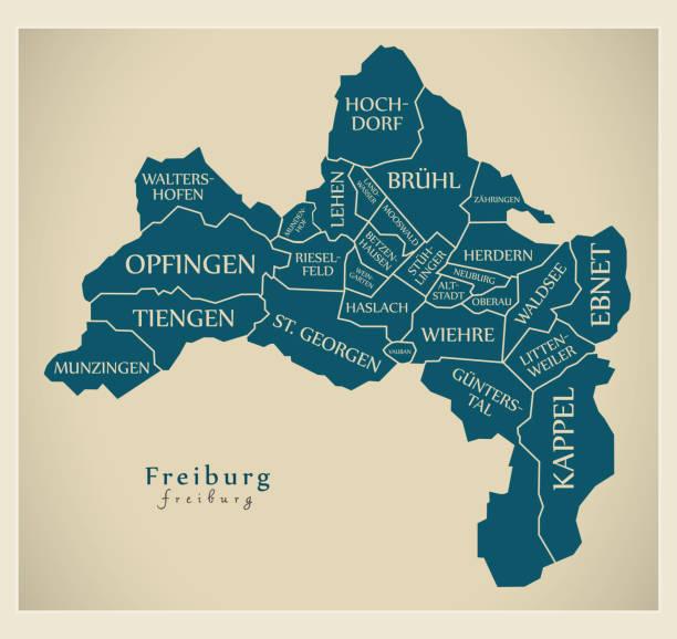 moderne city map - freiburg stadt deutschlands mit bezirken und titel de - schwarzwald stock-grafiken, -clipart, -cartoons und -symbole