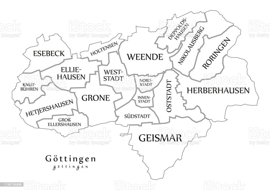 Map Of Germany Gottingen.Modern City Map Goettingen City Of Germany With Boroughs And Titles