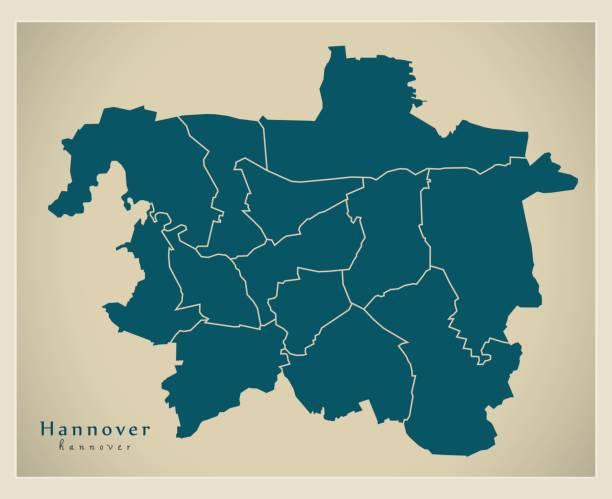 moderne city map - hannover stadt deutschlands mit bezirken de - hannover stock-grafiken, -clipart, -cartoons und -symbole
