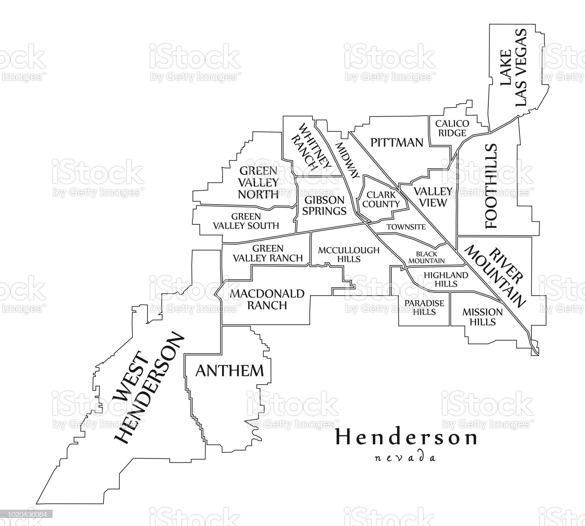 Imagen De Mapa De La Ciudad Moderna Ciudad De Henderson Nevada De La Usa Con Barrios Y Mapa De Contorno De Titulos Fotografia De Stock