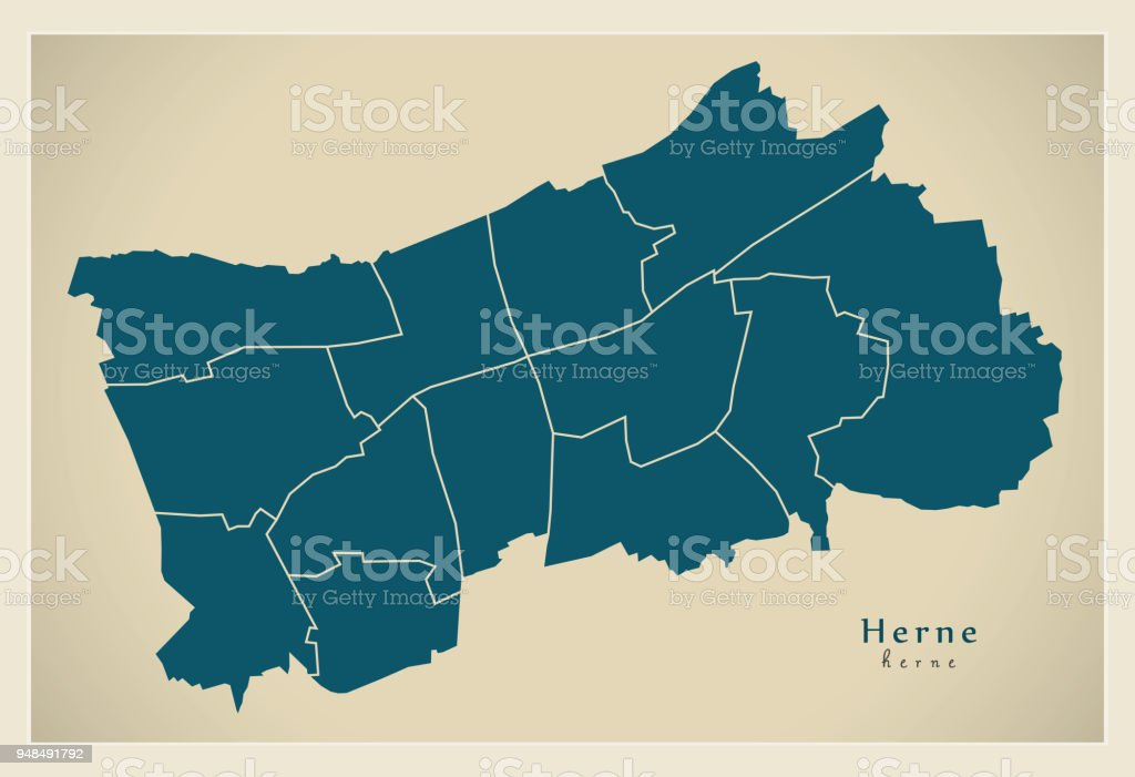 Modern City Map Herne City Of Germany With Boroughs De Stock Vector