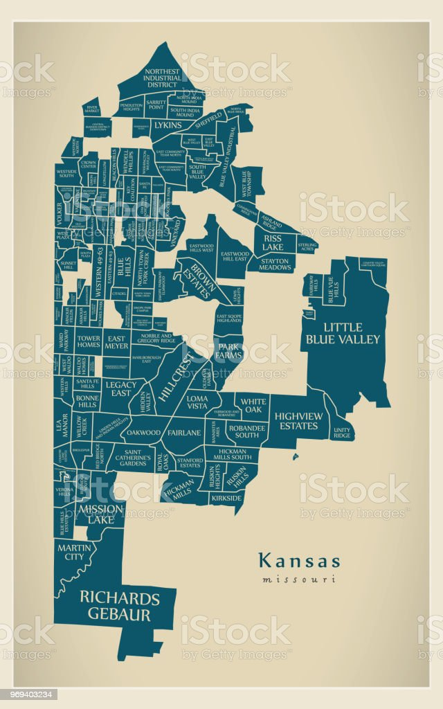 Moderne City Map Missouri Kansas City Der Usa Mit Nachbarschaften ...