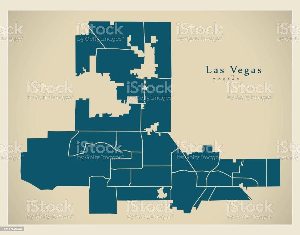 Moderne City Map Las Vegas Nevada Stadt Der Usa Mit Nachbarschaften ...